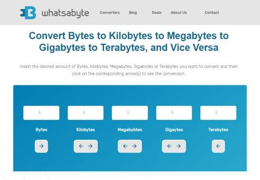 Conversor gratuito, online, de unidades de valor (bited até terabyted)